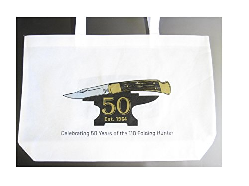 Buck Knives Reusable Light Canvas Compact Collapsible Shopping Tote Grocery Bag W/ Velcro Handle ~ Collectors Gift Memorbilia 50 Years Of 110 Folding Hunter Knife (112 Ranger 119)