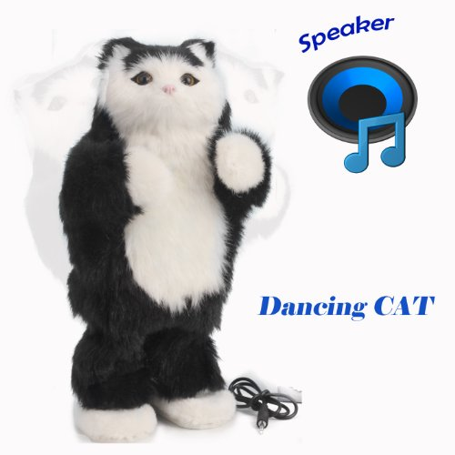 "Thumbs up dancing cat speaker , toys Stands 12""Tall,Soft Toy Speaker compatible with PC, tablet , iPhone, iPod, Smartphone and MP3 Player etc (Black cat)"