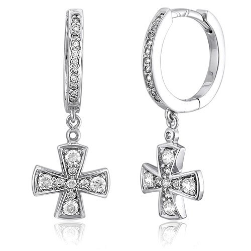 Sterling Silver Cubic Zirconia Hoop Huggie Earrings w/ Cross Drop, Holiday Christmas Gift