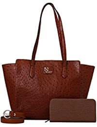 Rivet Brown Hand Bag With Brown Belt & Ladies Wallet