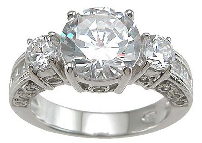Vintage Style Cubic Zirconia CZ Three 3 Stone Anniversary Ring Size 6