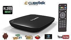 Cubetek H.265V Smart TV Box with KODI, Android KitKat, Quad Core, 1gb DDR Ram, 8GB, 1080p Media Player (Black)