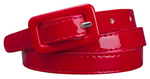 "Womens Covered Buckle Patent Leatherette Skinny Belt (M(30.5""-34.5""), Red)"