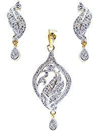 Lucky Jewellery White American Diamond Partywear Pendant With Earring