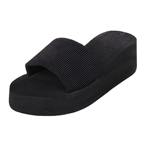 Fortan Scarpe Donna sandali di estate Slipper indoor & outdoor (Nero, EU=38)