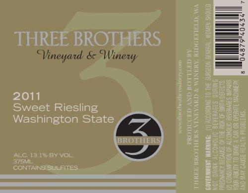 2011 Three Brothers Vineyard & Winery Rattlesnake Hills Sweet Riesling 375 Ml