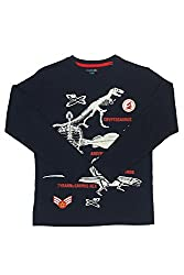Poppers by Pantaloons Boy's Round Neck T-Shirt (205000005613322, Blue, 11-12 Years)