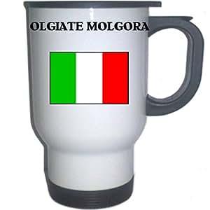 """Italy (Italia) - """"OLGIATE MOLGORA"""" White Stainless Steel Mug"""