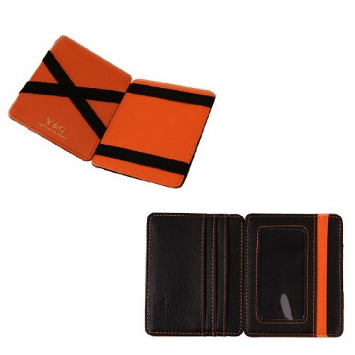 YCM020105 Black Orange Fashion Leather Magic Wallet New Year's Gifts By Y&G