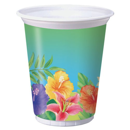 Creative Converting 8 Count Plastic Cups, 16-Ounce, Luau Hibiscus Heat