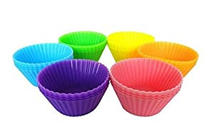 Silicone Baking Cups By Laminas, 12 Pack, Standard Size Non Stick Bpa-free Bake Molds, Greaseproof - Resist Heat up to 475° F -Best for Muffins, Cupcakes - Fda-approved, Eco-friendly Bakeware - 6 Fun Colors!