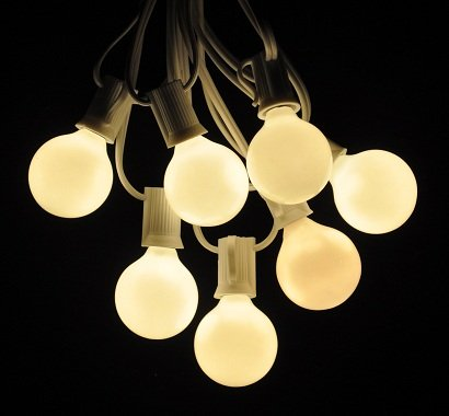 100 Foot Globe Patio String Lights - Set of 100 G40 White Pearl Bulbs with White Cord