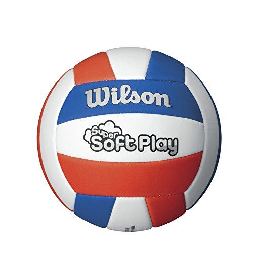 WILSON-Pallone da pallavolo, soft play, per interni, colore: rosso/blu