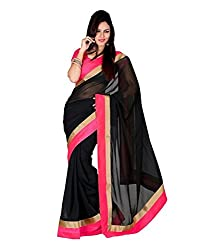Bollywood Designer Black Chiffon Women's Saree With Blouse Piece