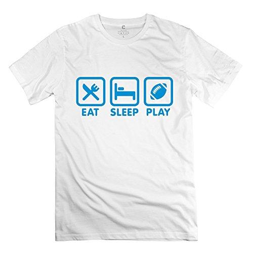 Ruifeng Men'S Eat Sleep Play Football Rugby T-Shirt - M White