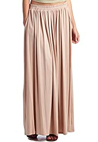 LeggingsQueen Women's Rayon Spandex Layered Maxi Skirt with Pockets