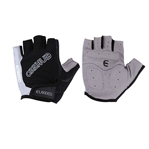 Enkeeo Half Finger Cycling Gloves with Anti-slip Shock-absorbing 5MM Silica Gel and 3MM Sponge Pads, Breathable Lycra and Terry Cloth Design to Wipe Sweat, Black&Grey