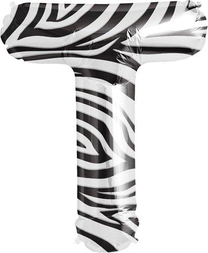"""34"""" Foil Balloon Letter T - Zebra"""