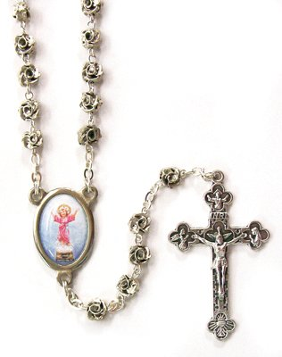 Metal Rosary with Clasp - Divine Child - 6mm Rose Shaped Beads - 18in. Chain - IMPORTED FROM ITALY