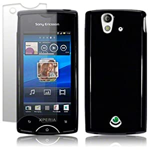SONY ERICSSON XPERIA RAY BLACK TPU GEL CASE / SKIN / COVER + SCREEN PROTECTOR PART OF THE QUBITS ACCESSORIES RANGE