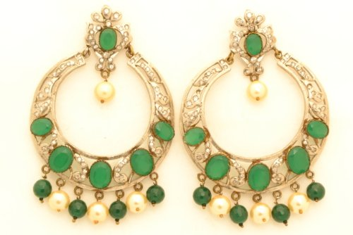 Fashion Balika Fashion Jewelry Gold-Plated Dangle & Drop Earring For Women Green-BFJER053 (Yellow)