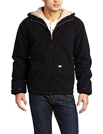 Dickies Men's Sanded Duck Sherpa Lined Hooded Jacket, Black, Medium