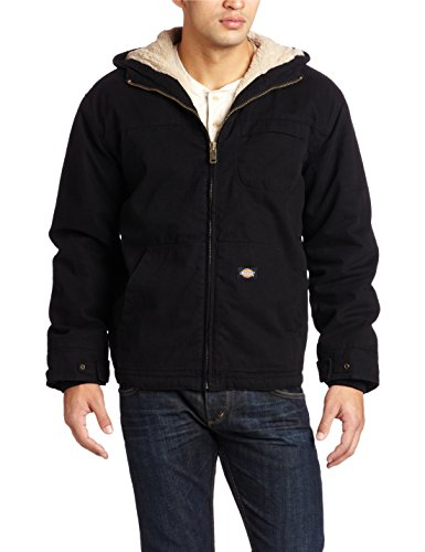 Dickies Men'S Sanded Duck Sherpa Lined Hooded Jacket, Black, X-Large