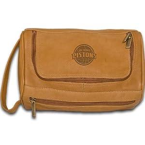 NBA Detroit Pistons Tan Leather Shave Kit Bag by Pangea Brands