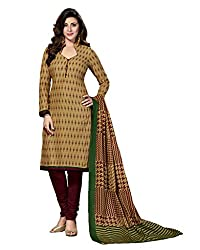 Drapes Women's BeigeCotton printed Dress Material (Unstitched)