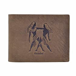 Hawai Mens Gemini Embossed Leather Wallet for Men