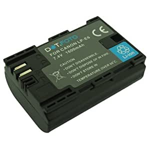 Canon LP-E6 PREMIUM Replacement Rechargeable Camera Battery (100% COMPATIBLE) from Dot.Foto - with Dot.Foto InfoChip - 7.4v / 1600mAh - 2 Year Warranty [See Description for Compatibility]