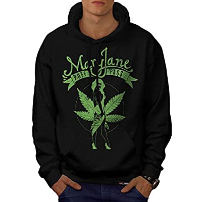Weed Puff Pass Dope Mary Jane Men NEW Black Hoodie S-5XL | Wellcoda