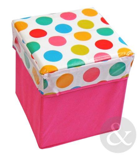 KIDS STORAGE BOXES - Boys & Girls Plastic Laundry Childrens Toy Storage Unit Box Spots - Pink ( white red nursery ) 30cm x 30cm x 32cm
