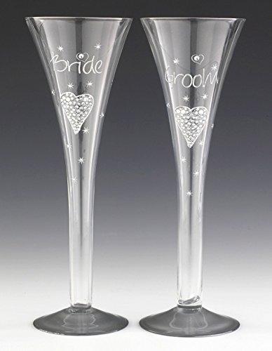 BOXER - Set da 2 flute di champagne in stile moderno con scritta Bride and Groom Tallulah, in confezione regalo, colore: Trasparente