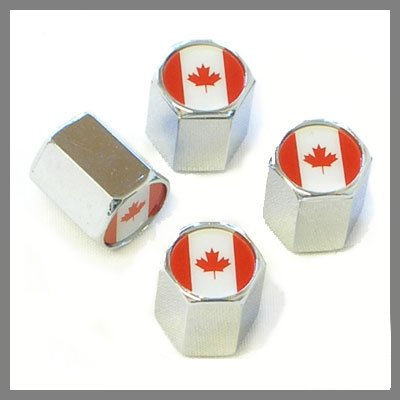 Canada Flag Chrome Tire Valve Caps