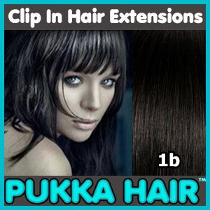 18 Inch (Natural Black #1B) Clip In Remy Human Hair Extensions - 8 Piece Set - Full Head - Clips Attached - 100g Weight - Get the Celebrity Lush Look!!