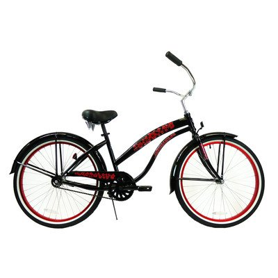 Women's Single Speed Premium Beach Cruiser Frame Color: Black with Red Wheels