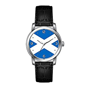 AMS Christmas Gift Watch Women's Vintage Design Leather Black Band Wrist Watch Scottish Flag of Scotland Saint Andrew¡¯s Cross Wristwatches