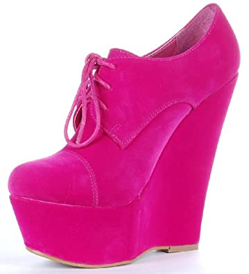 Koi Couture Heeled Platform Round Toe, Faux Suede, Lace Up Ankle Wedge Shoe/Boot Fuchsia/Hot Pink Size 8