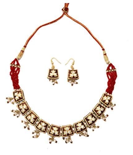 Jaipuri Red and White Lacquer Indian Jewelry Set Ethnic Handmade Gift