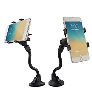 [UPDATE VERSION]Car Mount,Ipow Long Arm Universal Windshield Dashboard Cell Phone Holder with Strong Suction Cup and X Clamp for iPhone 6 Plus/6 5 4 Samsung Galaxy S6 Edge/s6 S5 S4 S3 Note Nexus Etc