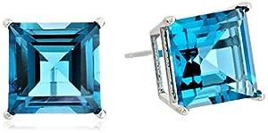 10k White Gold 8mm Square Swiss Blue Topaz 4-Prong Stud Earrings
