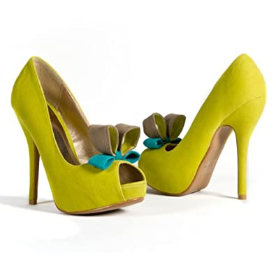Qupid Women's Bow Tie Open Peep Toe Platform High Heel Pump, Lime Faux Suede, 8.5 M US