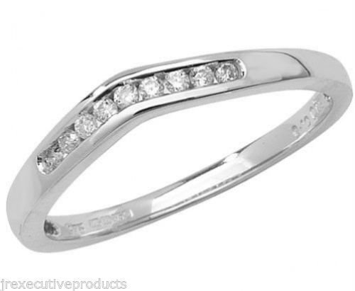 9ct White Gold Diamond Soft Wishbone Eternity Ring 0.10ctw sizes G - W