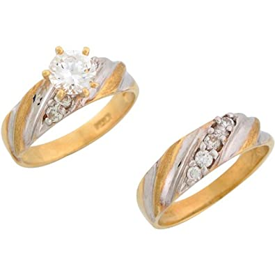 9ct Two Colour Gold White CZ Splendid Ladies Engagement And Wedding Ring Duo Set
