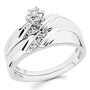 14K White Gold Women's Round-cut Diamond Enagagement Ring and Wedding Band 2 Pieces Bridal Set (0.1 CTW., G-H Color, SI Clarity) - Size 6.5