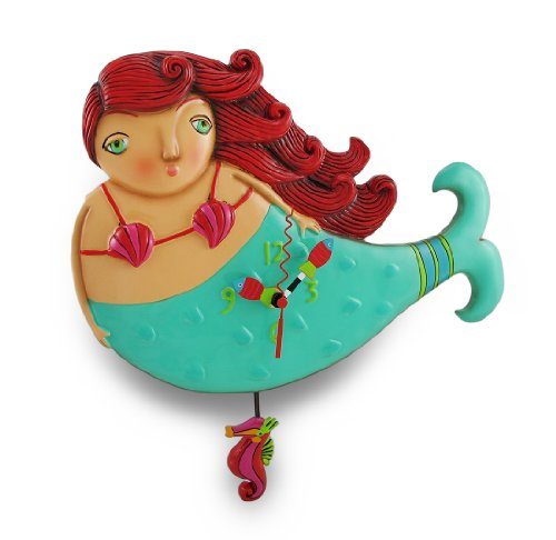 Allen Designs `Ruby` Whimsical Mermaid Pendulum Wall Clock