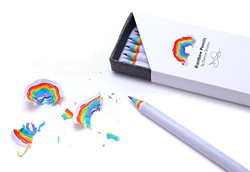 Box of 5 Rainbow Pencils by Duncan Shotton, White