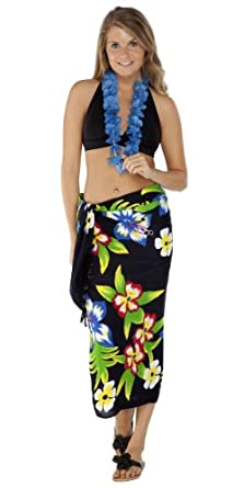 1 World Sarongs Womens Hawaiian Swimsuit Cover-Up Sarong in Black