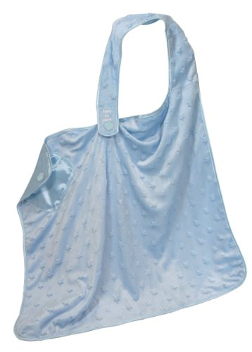 Stephan Baby Satin-Lined Ultra Soft Textured Plush Nursing Cover, Blue Bumpy Stars